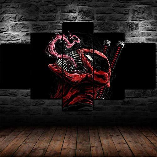 MENGLE Impresión HD Pintura 5 Piezas Cuadro En Lienzo,150X100Cm Cuadros Modernos Salón Decoracion De Pared Canvas Prints Wall Art Modular Poster Mural Decorativo Venom Deadpool Comics Regalo Navidad