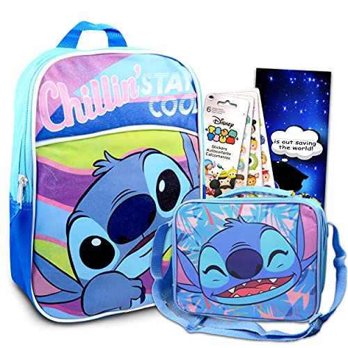Disney Lilo And Stitch Mini Backpack and Lunch Box Bundle - 4 Pc Set With 11' Stitch School Bag, Stitch Lunch Bag, And More For Boys And Girls | Stitch School Supplies Set