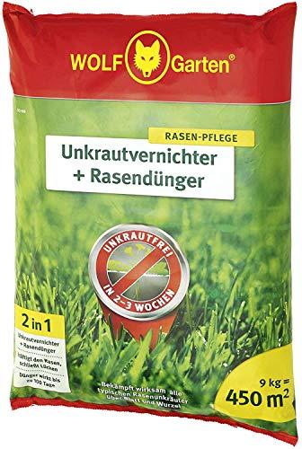sui Wirkt zweifach über Blätter und Wurzeln innerhalb von 2 – 3 Wochen 2-in-1: Unkrautvernichter Plus Rasendünger SQ 450