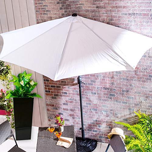 BuyStar Set Ombrellone da Muro Mezzaluna con Base in Resina, Parasole con palo in Alluminio, Dimensione 300x250cm,