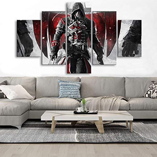 ADGUH 5BilderLeinwanHD 5 Stück Assassins Creed Leinwandbilder Große Videospiele Wandkunst Poster Drucke Wohnzimmer Home Decoration Framework5 Drucke auf Leinwand