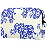 Bolsa de brochas de maquillaje personalizable, bolsa de aseo portátil para mujer, bolso cosmético, organizador de viaje, color azul y blanco de porcelana elefante