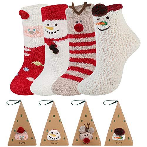 Dorakitten Christmas Socks, 4 Pack Bed Socks For Xmas Plush Socks Women Soft Fluffy Socks Warm Bed Socks For Xmas Gift with A Random Christmas Card