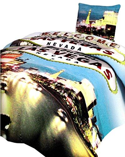 4 TLG. Bettwäsche 135 x 200 cm in blau/weiß aus Microfaser Las Vegas City Doppelpack Fotodruck, mit Reißverschluss
