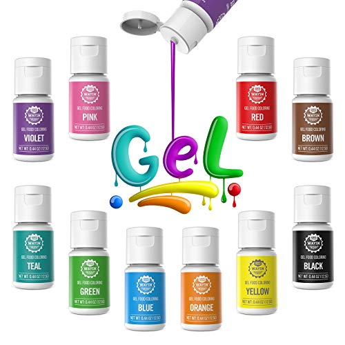 Gel Food Coloring 10x10ml Colors Set - Wayin Gel Based Vibrant Food Color Dye Flavorless Edible Icing Color Concentrated Neon Baking Color for Kids Cake Easter Egg Decorating Macaron Fondant Cookie