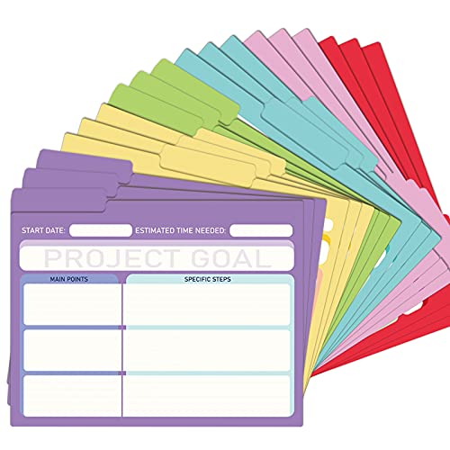 EOOUT 18 Pack Project File Folders with Tabs, Colored File Folders, Manila, Notes File Folders, Letter Size, 6 Assorted Colors, 11.5x9.5 Inch, 1/3 Cut, for Students, Office Supplies
