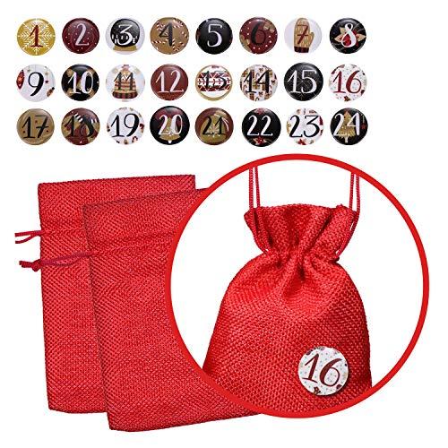 Calendario de Adviento Set de 24 bolsas de yute con 24 números e insignias para llenar para la temporada de Adviento - Rojo