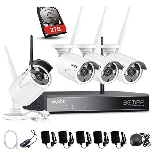 SANNCE Kit Sistema de Seguridad Inalámbrico 1080P NVR y 4 camaras 960P con 2TB Disco Duro de vigilancia(WiFi 8 Canales NVR 1080P + 4 Cámaras 1.3MP IP66 Impermeable Interior/Exterior)