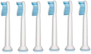 Philips Sonicare Sensitive Replacement Toothbrush Heads for Sensitive Teeth (HX6053/64)- 6 Pack