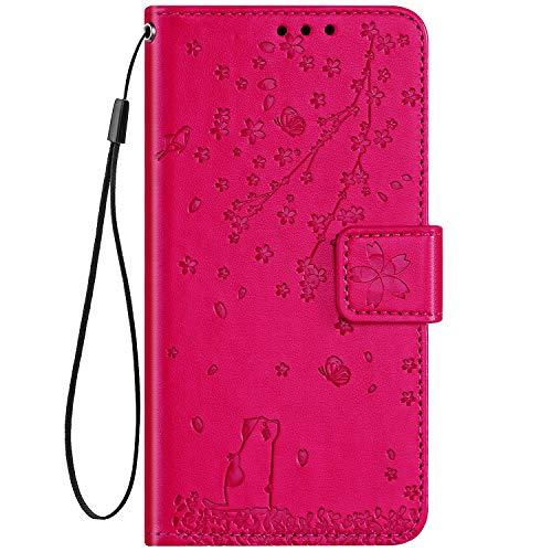 Hpory Custodia Huawei P10 Lite, Cover Huawei P10 Lite Flip, Fiori Design Folio Flip Stile Pelle Libro Cover, Tinta Unita Rosa Rossa Cover con Supporto di Stand Strap Carte Slot, Fiori -Rossa Rosa