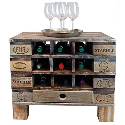 Palettenmöbel Flaschen-/Wein-Regal Kommode Monterey, Neuholz gebeizt in klassischer Paletten Optik, jedes Teil ist einzigartig und Wird in Deutschland in Handarbeit gefertigt