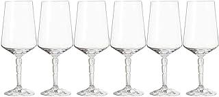 Leonardo Spiritii Rotwein-Gläser, Rotwein-Kelche mit Stiel im Facettenschliff, spülmaschinenfeste Wein-Gläser, 6er Set, 390 ml, 022747