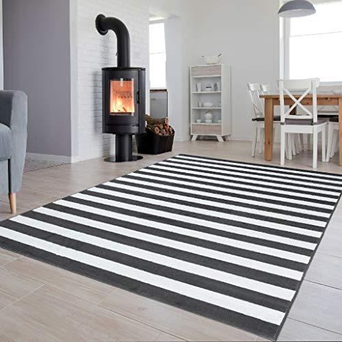 Tapiso Colección Luxury Alfombra Salón Moderno Piso Color Gris Oscuro Blanco Diseño Rayas Fácil Mantenimiento 120 x 170 cm