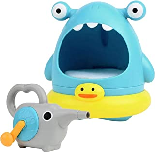 NUOBESTY Shark Bubble Machine, 2Pcs Bubble Machines, Bath Manually Maker Lovely Shark Bubble Bathtub Toys