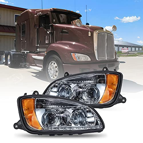Headlights Fit 2008-2016 Kenworth T660 T770 T700 T170 T270 T370 T470 T440, Replacement Projector Headlamps with Bulbs in, Left Driver Side & Right Passenger Side