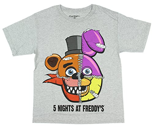 Five Nights at Freddy's Split Face Boys Youth T-Shirt L Gray