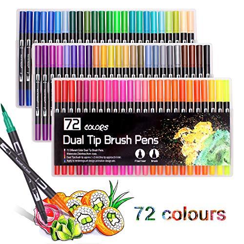 Pennarelli indelebili a punta doppia per calligrafia, disegni, schizzi, libri da colorare, progetti artistici 72 colours