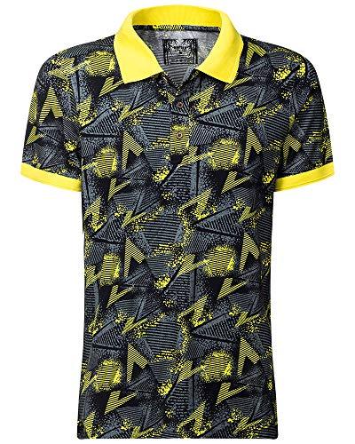 Poloshirt T-Shirt Funktionsshirt Herren Sport atmungsaktiv Polohemd antibakteriell antiallergen nachhaltig Bambus hautfreundlich eco Sommer Muster (XL/52, Gelb)