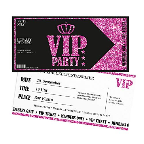 Einladungskarten Geburtstag Pink VIP | 20 Stück | Lady's Night | Inkl. Druck Ihrer Texte |Einladungen Geburtstag | Jugendweihe | Kindergeburtstag | Karte Einladung | Einladungskarte Mädchen
