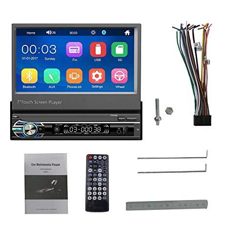 Youmine Reproductor de Coche RetráCtil 1 DIN 7 Pulgadas Radio de Coche Enlace Espejo HD Pantalla de Prensa Reproductor MP5 Radio USB/TF/FM /