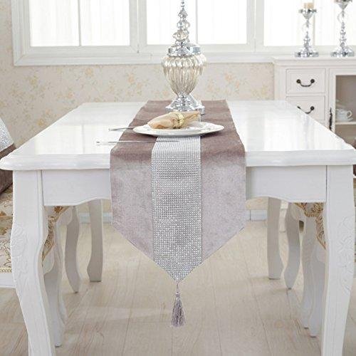 LUNAH Camino de mesa moderna imitación de franela diamantes boda Decoración de...