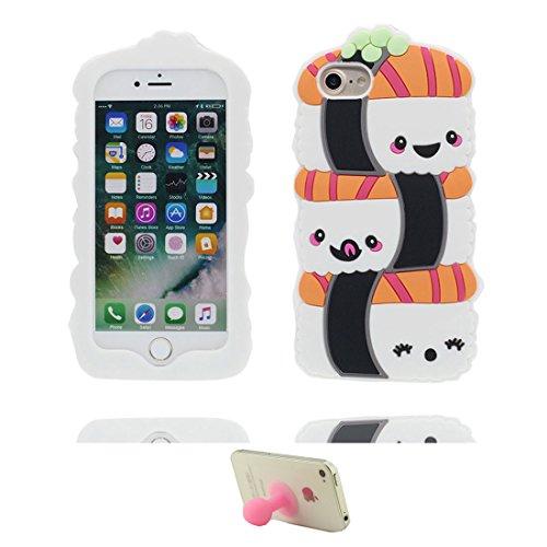 iPhone 6 Plus Custodia, iPhone 6S Plus Case, Cover morbida in silicone 3D per personaggi divertenti dei cartoni animati Copertura per iPhone 6+ / 6s Plus (5,5') & supporto ventosa ( Sushi )