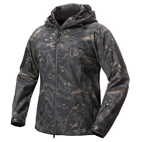 SHYSBV Softshell Military Camouflage herenjack met capuchon waterdichte winter warm leger bovenkleding mantel Large Zwarte kop.