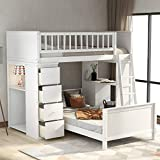 Twin Over Twin Bed, Twin Loft Bunk Bed with Storage Drawers and Stairs for Kids, Space Saving Easy Assembly Twin Bunk Bed, White