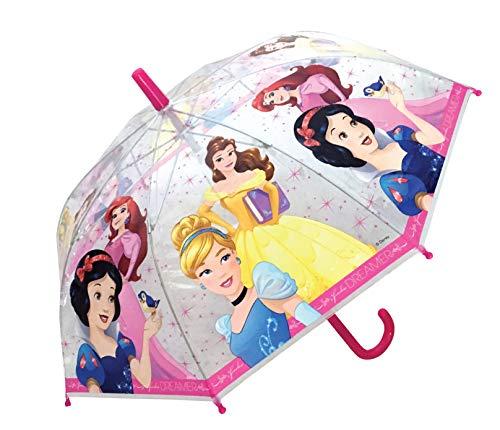 Chanos Princess Manual Safety Runner Poe Transparent Folding Umbrella, 38 cm, Pink and White