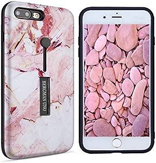 Bergman Uno case Compatible with iPhone 6 Plus/iPhone 6s Plus Dual Pro Case/Finger Strap Case/Rugged Case/Dual Layer Finger Ring Loop Strap Case/Grip Case (Pink Marble)