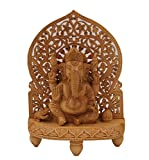 """DharmaObjects Large Ganesha Hand Carved Wooden Statue - Ganesh Wooden Sculpture Elephant (12"""" Tall X 8.5"""" Wide, Ganesha)"""