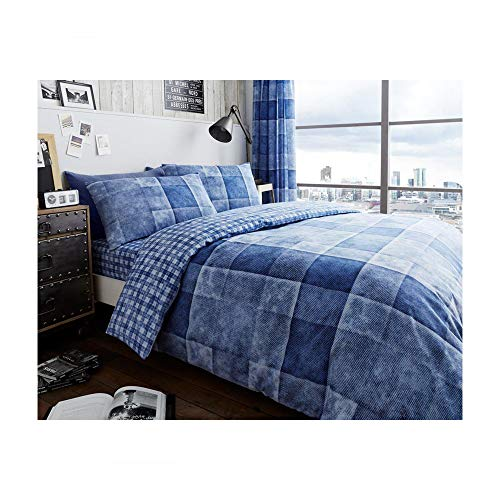 Duvet Cover Set King Size Bed with Pillowcases Quilt Printed Reversible Poly Cotton, Denim Check Blue