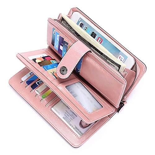CHENSQ Cartera para señoras RFID con cierre de cremallera larga con múltiples ranuras para tarjetas y bolsillo para teléfono