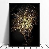 Leinwanddrucke Wanddekoration,Athen Schwarz Und Gold Stadt
