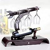 YAzNdom Sostenedor De Copa De Vino Abajo sólidas Ideas de exhibición de Madera Europea del Vino Creativo Copa de Vino en Rack Decoración Apto para Cafeterías (Color : Brown, Size : 26.5x39.5x47.5cm)