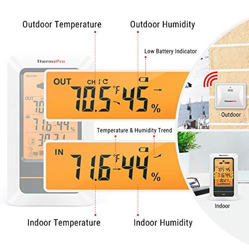 ThermoPro TP67 estación meteorológica inalámbrica Interior Exterior termómetro higrómetro Digital barómetro con Resistente al frío y Resistente al Agua Monitor de Temperatura, Rango de 200 pies/60 m