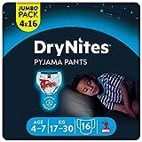 DryNites saugfähige Nachtwindeln bei Bettnässen, Für Jungen 4-7 Jahre (17-30 kg), 64 Stück, Jumbo Monatspackung