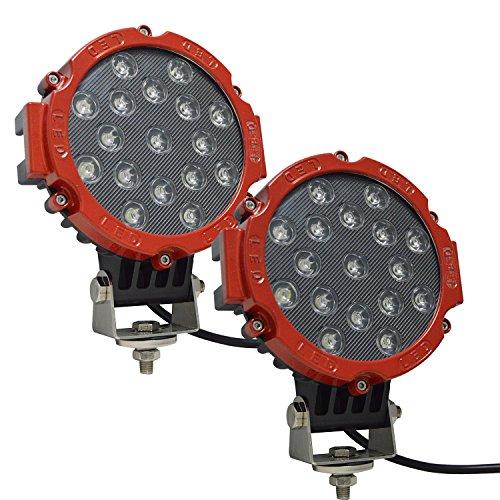 AUXTINGS 7 Pulgadas 2 pcs 51 W inundación barra de luz LED luces de conducción luz de trabajo para todoterreno coche pastilla camión SUV UTV (rojo)