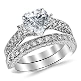 14K White Gold 1.53 CTW Three Stone Vintage With Milgrain & Filigree Bridal Set with Wedding Band & Diamond Engagement Ring w/ 0.5 Ct Heart Cut I Color VS2 Clarity Center