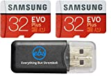 Samsung Evo Plus 32GB MicroSD Memory Card (2 Pack) Works with GoPro Hero 9 Black (Hero9) 4K UHD, UHS-I, U1, Speed Class 10, SDHC (MB-MC32) Bundle with (1) Everything But Stromboli Micro Card Reader