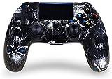 Controlador PS4 de juego inalámbrico Bluetooth con doble vibración PS4 con Touch pad Joystick de alta precisión para PlayStation 4 (calavera azul)