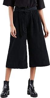 Calça Jeans Levis Wide Leg Pleated Crop Feminino Preto