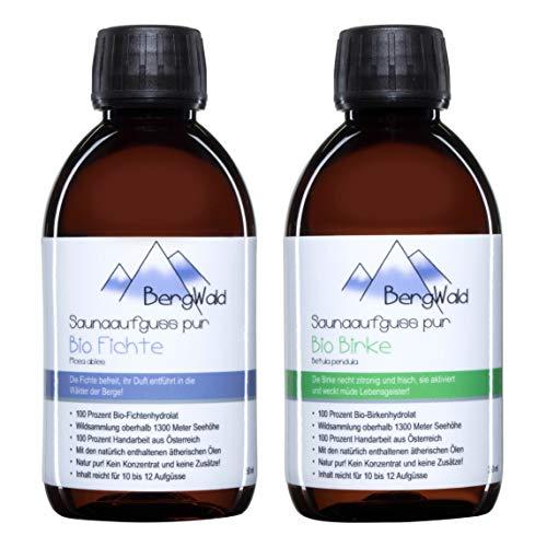 Sauna-Aufguss   100% bio   Saunaduft mit natürlichen ätherischen Ölen für Saunaaufgüsse   Biozertifiziert aus Wildsammlung   Naturprodukt ohne Zusätze   250 ml (BergWald Duo (Set))