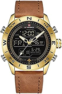 NaviForce Men's Casual Watch Analog-Digital Leather NF9144-1 Brown Gold