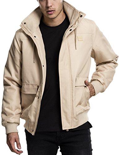 Urban Classics Herren Winterjacke Heavy Hooded Jacket, gefütterte Jacke mit abnehmbarer Kapuze mit Kunstfell-Futter - Farbe beige, Größe L