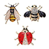 Ailiessy 3Pcs Wasp Bee Ladybug Brooches Pins Insect Animal Honey Bee Beetle Lapel Pin Badges for Women Girls Scarf Suit Clip Pins Set
