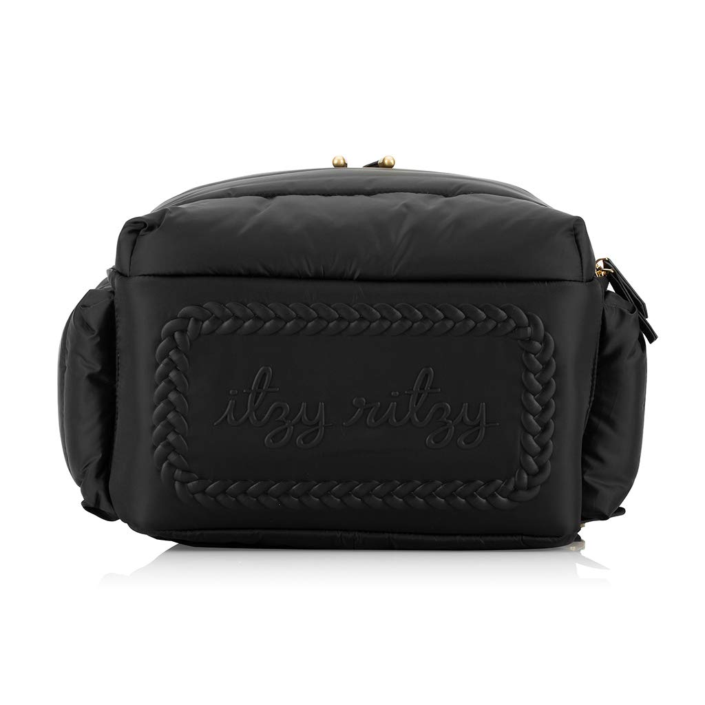 Itzy Ritzy Dream Backpack Diaper Bag; Lightweight Backpack Made of Puffer Style Material; Features 14 Pockets, Stroller Straps, Changing Pad & Adjustable Shoulder Straps, Midnight Black