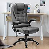 Ergonomic Massage Office Chair-High Back Fabric Heating Vibration Massage Executive Chair, Height Adjustable Reclining Swivel Computer Desk Chair Lumbar Support Armrest, Grey
