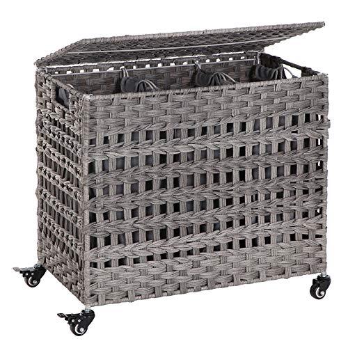 SONGMICS Wäschekorb handgeflochten, Wäschesammler aus Polyrattan, mit 3 Fächern, Deckel und Griffen, herausnehmbare Taschen, Wohnzimmer, Schlafzimmer, Waschküche, grau LCB83GW