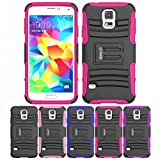 Galaxy S5 Stand Case, HLCT Rugged Shock-Proof Dual Layer PC and Soft Silicone Case with Built in Kickstand for Samsung Galaxy S5 (Rose Pink)